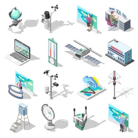 Pronosticadores, edificio de oficinas y dispositivos que incluyen satélite meteorológico, termómetro, instrumento de medición de viento, iconos isométricos aislados ilustración vectorial