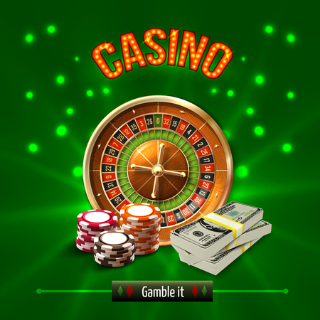 Colored casino realistic concept with gamble it headline and different games elements vector illustration