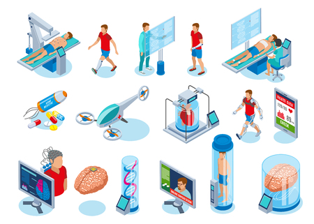 Medicine of the future isometric icons collection of isolated images with medical equipment of next generation vector illustration Foto de archivo - 101912266