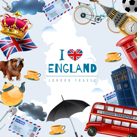 England london travel frame background with collage of flat images with stereotype items and editable text vector illustration