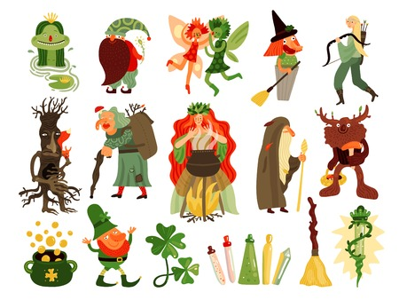 Fairy tale set of mythology and folklore  cartoon characters living in forest isolated vector illustration
