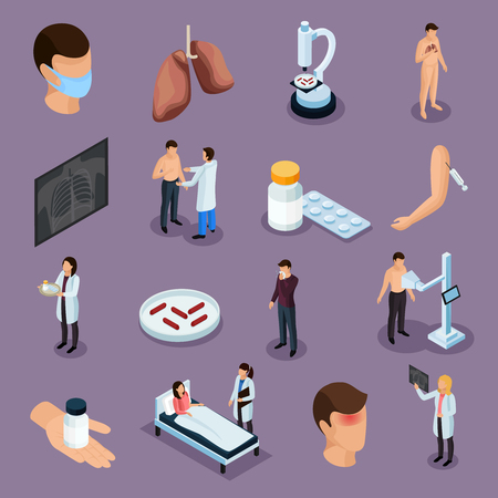 Tuberculosis prevention isometric icons set with health symbols isolated vector illustration