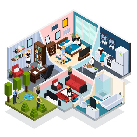 Home staff performing routine work indoor and outdoor with maid gardner chef isometric  vector illustration