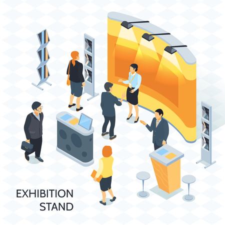 Exhibition isometric vector illustration with visitors and consultant with badge near expo stand illuminated by spotlights Illustration