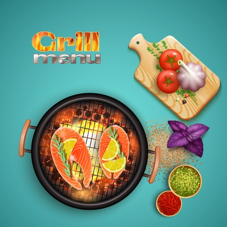 Bbq salmon cooked on grill with lemon and herbs on blue background realistic vector illustration