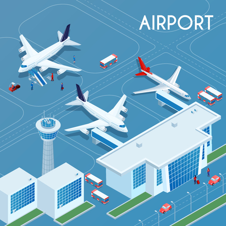 Airport outdoor blue background with technical transport and landing jet aircrafts on airfield isometric vector illustration Ilustração