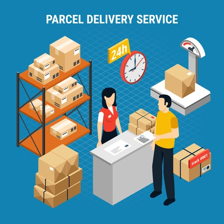 Mail delivery isometric composition with parcel delivery service description and 24h service deck vector illustration