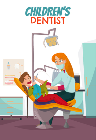 Colored pediatric dentistry composition with children s dentist headline and red hair woman treats child s teeth vector illustration