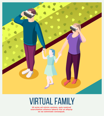 Virtual family from actual adults in vr glasses and fictitious daughter during stroll isometric background vector illustration 일러스트