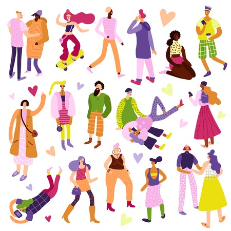 Young people street fashion looks icons set flat isolated vector illustration