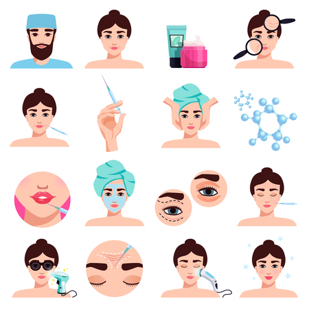 Facial rejuvenation cosmetic treatments icons collection with mask application  botox injections lips filling procedures isolated vector illustration