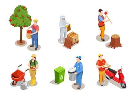 Worker professions isometric compositions set with human characters of people modern jobs and pieces of equipment vector illustration