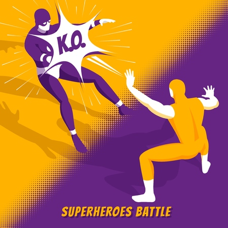 Famous superheroes movie characters fight in new computer videogame battle isometric orange purple screen image vector illustration Иллюстрация