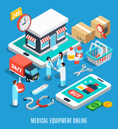 Ordering medical equipment online isometric concept on blue background 3d vector illustration Иллюстрация