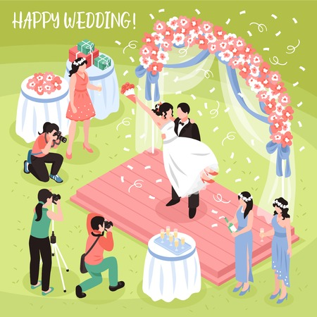 Beautiful wedding photo shoot and three professional photographers 3d isometric vector illustration