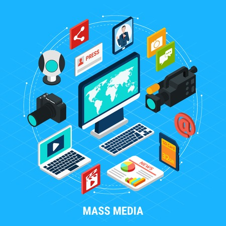 Photo video isometric round composition of isolated images computers shooting equipment and infographic pictograms with text vector illustration