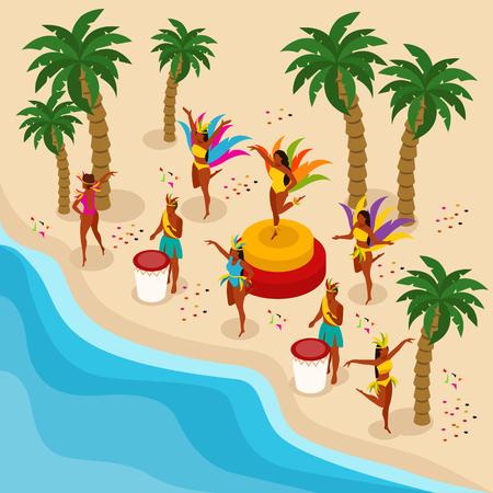Brazilian carnival with dancing people and beach symbols isometric vector illustration Illustration