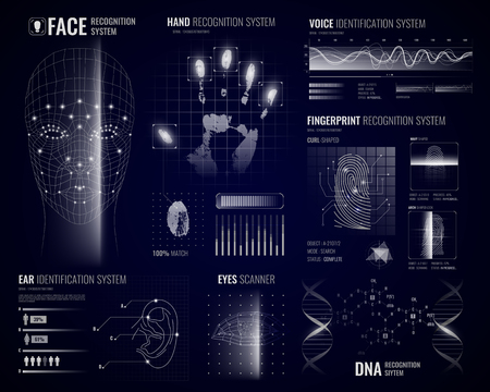 Authorization verification biometric scanners white background with futuristic identification interface images fingerprints and infographic design elements vector illustration Banque d'images - 101912296