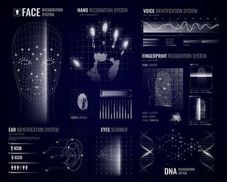 Autorisatie verificatie biometrische scanners witte achtergrond met futuristische identificatie-interface afbeeldingen vingerafdrukken en infographic ontwerpelementen vector illustratie