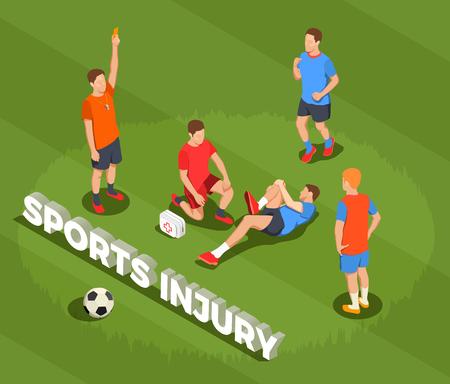 Composition de personnes isométrique de football football avec texte et images de joueur souffrant après faute avec illustration vectorielle de médecin