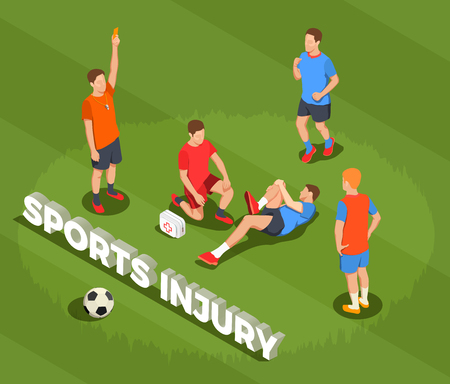 Football soccer isometric people composition with text and images of suffering player after foul with doctor vector illustration