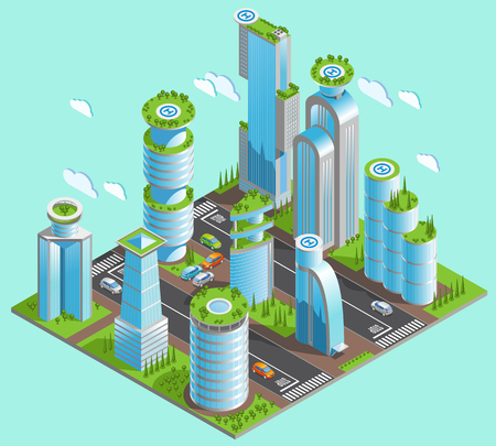 Isolated and isometric futuristic skyscrapers composition with a lot of office buildings in downtown area with mirrored windows and helipads vector illustration