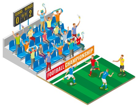 Football championship isometric composition with spectators on stadium tribune gamers on field and board with score of match vector illustration Illustration