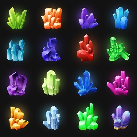Realistic colorful crystals set of different shapes on black background isolated vector illustration