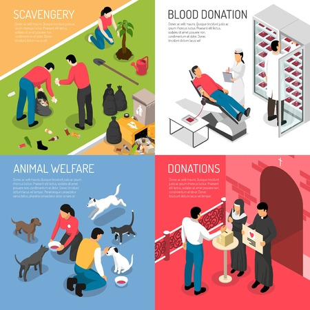Volunteering charity concept 4 isometric icons square with scavengers team blood donation animal shelter isolated vector illustration  Illustration