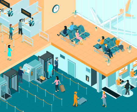 Airport indoor isometric background with passengers passing passport control and waiting for departure vector illustration