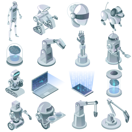 Artificial intelligence isometric set with signs of domestic robots and devices for virtual reality technology isolated vector illustration