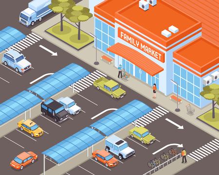 Personal transport on parking zone near market building 3d isometric vector illustration