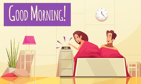 Cartoon background with man and woman waking up in morning vector illustration Illustration