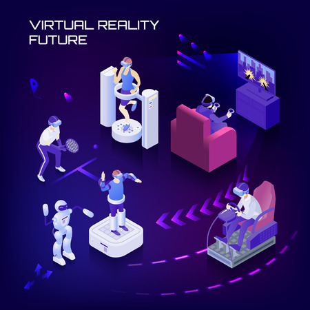 Virtual reality future capabilities, sport trainings, gaming, simulator, vr controlled robots on dark background isometric vector illustration Illustration