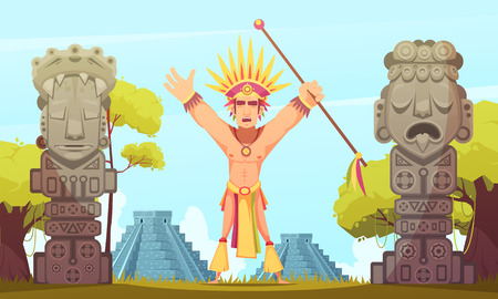 Maya man performing ritual on background with teotihuacan pyramids cartoon vector illustration