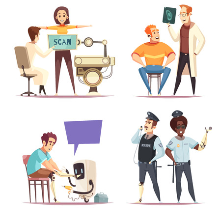 Bionic prosthesis design concept set of four isolated compositions representing different lifetime situations with human characters vector illustration Illustration