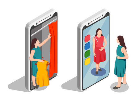 Consumers isometric set with fitting room and smartphone isolated vector illustration