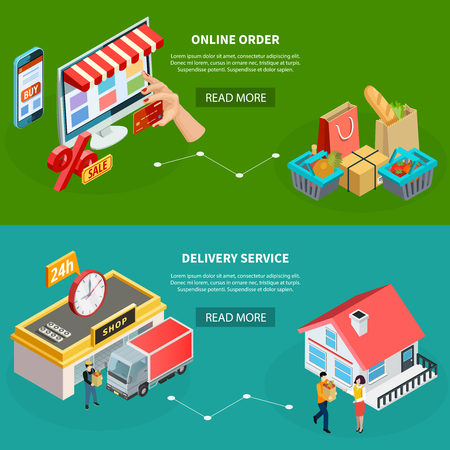 Grocery store horizontal banners with online order and delivery service isometric concepts vector illustration