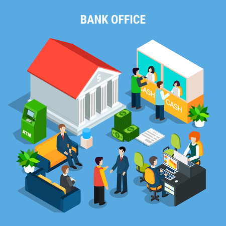 Banking office isometric composition with staff, clients during financial operations, interior elements on blue background vector illustration