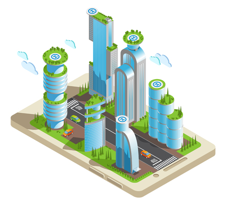 Isometric futuristic skyscrapers colored composition part of the city with skyscrapers in 3d style located on the smartphone screen vector illustration