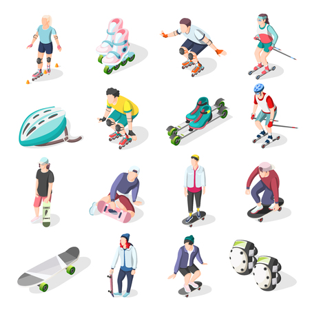 Roller and skateboarders isometric icons set of athletes sport equipment and elements of body protection vector illustration