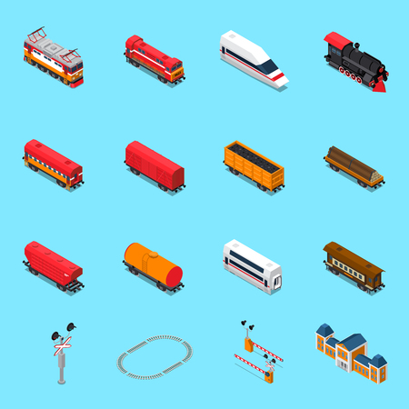 Isometric rail road elements including locomotives, passenger and freight wagons, traffic sign, station isolated vector illustration