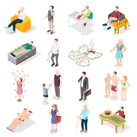 Rich people and rich life isometric icons set of wealthy persons relaxing on south beach eating delicious in restaurant gambling in casino isolated vector illustration