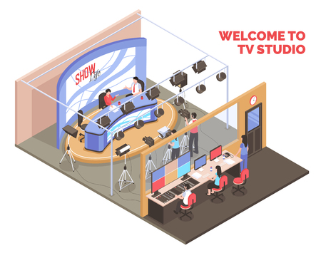 Live tv show with two anchormen broadcasting from studio isometric concept on white background 3d vector illustration Illustration
