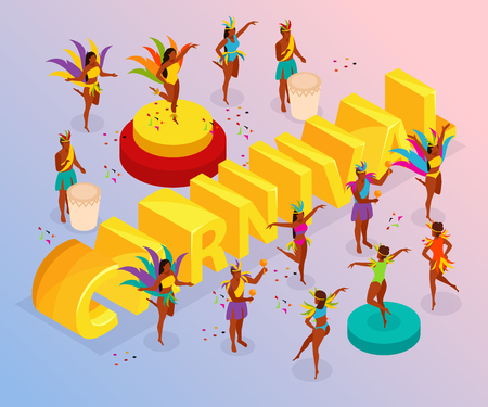 Brazilian carnival with dancing people and fun symbols isometric vector illustration