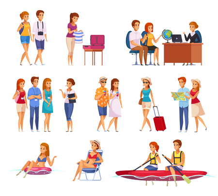 Travel agency cartoon set with people preparing for trip and on summer water active recreation isolated vector illustration