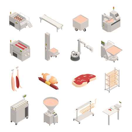 Sausage factory set of isometric icons, fresh meat and finished products, automated equipment, isolated vector illustration