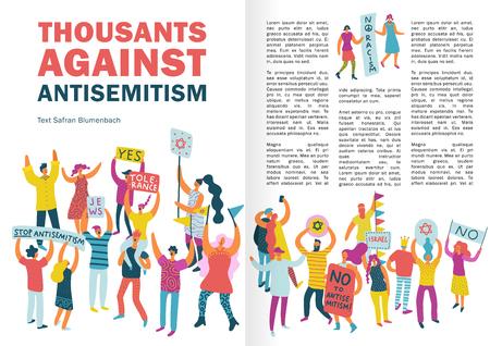 La gente protesta el diseño de infografías con multitud que protesta contra el antisemitismo con carteles y vallas publicitarias ilustración vectorial plana