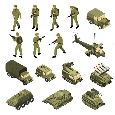 Comandantes de soldados de vehículos militares conjunto de unidades de transporte táctico aisladas y entidades de combate con personajes humanos ilustración vectorial Ilustración de vector