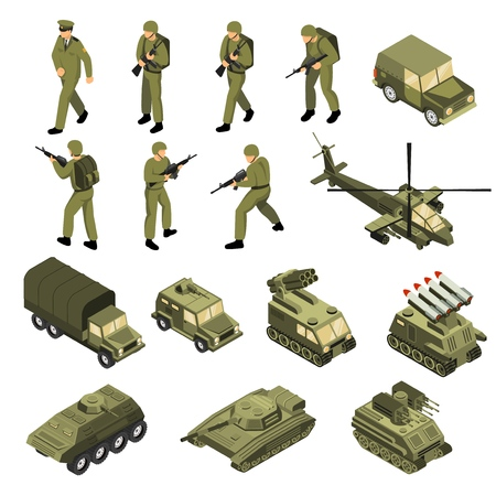 Military vehicles soldiers commanders set of isolated tactical transport units and fighting entities with human characters vector illustration Banco de Imagens - 102305187